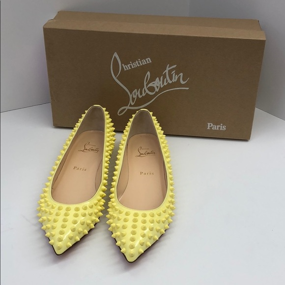 cbed85ab969 Christian Louboutin Pigalle Spikes Flat Yellow-38